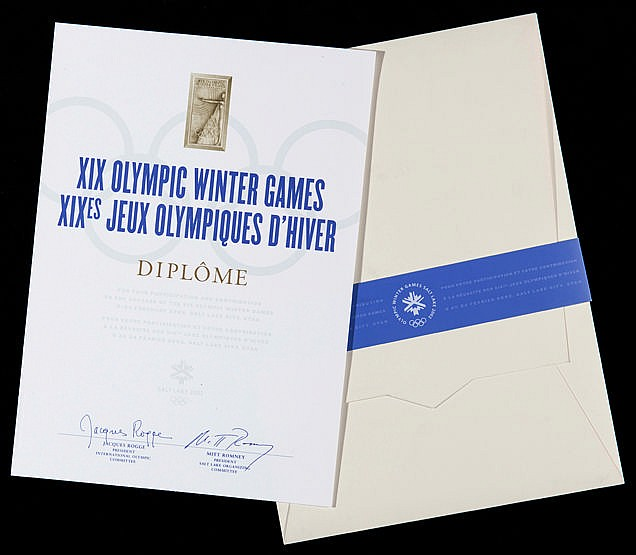 A Salt Lake City 2002 Winter Olympic Games participant's diploma, in