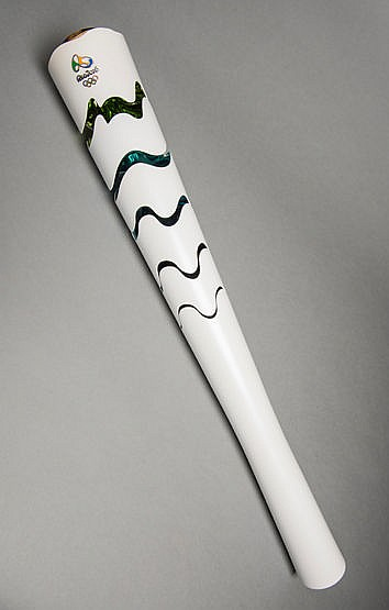 A Rio de Janeiro 2016 Olympic Games torch,  designed by Chelles e Haya