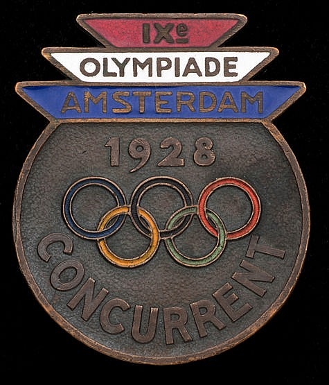 Amsterdam 1928 Olympic Games competitor's badge, bronze & enamel with