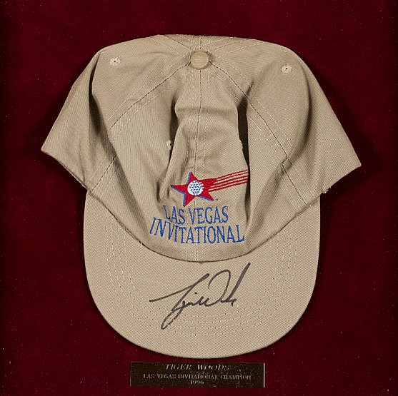 A Tiger Woods signed souvenir cap for the 1996 Las Vegas Invitational,