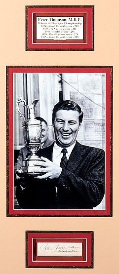 Two Open Champions displays featuring Australian golfers Peter Thomson