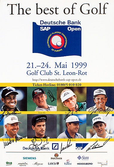 Signed 1999 Players' Championship of Europe golf tournament poster, s