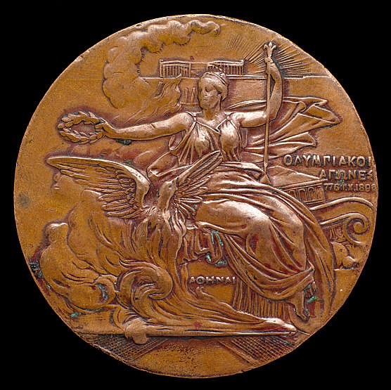 An Athens 1896 Olympic Games participant's medal, designed by N Lytras