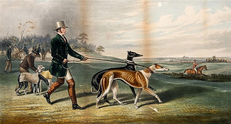 A collection of 19th century hare coursing prints, i & ii) a pair of