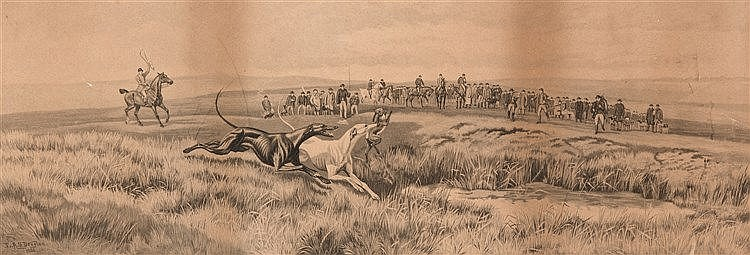 After E A S Douglas (1850-1920)  HARE COURSING (A PAIR)  signed in the