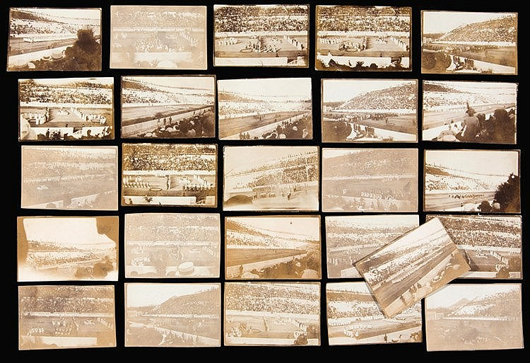 A group of 26 small sepia-toned photographs of the Opening Ceremony of