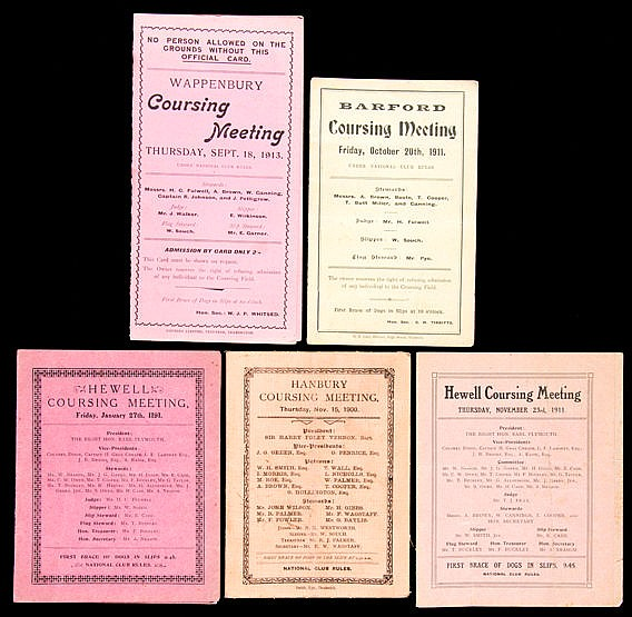 Hare coursing programmes, Hanbury 15th November 1900, Hewell 27th Jan