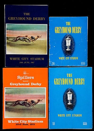 An unbroken run of Greyhound Derby racecards 1949 to 2016,  later issu