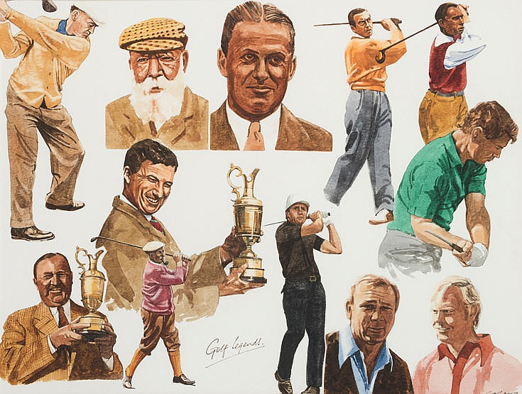 Chris Last (contemporary)  GOLF LEGENDS  signed, titled & dated '90, o