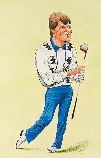 Original large John Ireland caricature artwork of Nick Faldo,  signed,