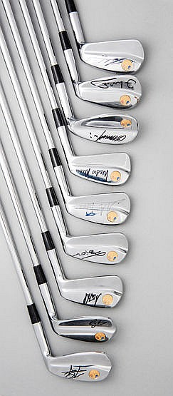 An autographed set of irons commemorating the 1997 Ryder Cup at Valder