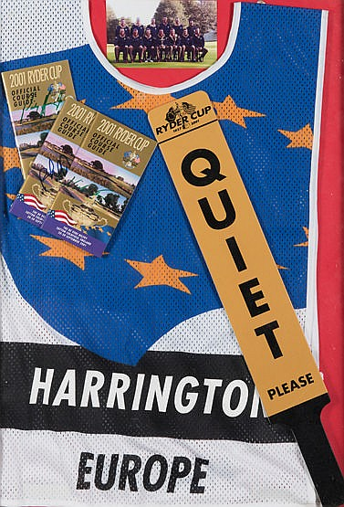 Padraig Harrington 2001 [cancelled] Ryder Cup caddie's tabard. mounte