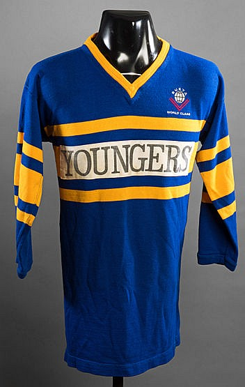 Syd Hines Leeds No.14 rugby league shirt,  blue & gold Syd Hines playe