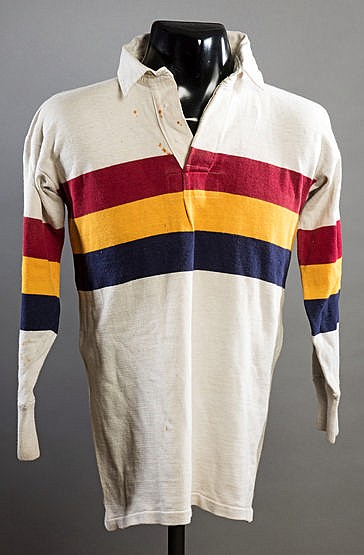 Eric Batten Bradford Northern No.1 rugby league shirt, white with claret, amber & black bands