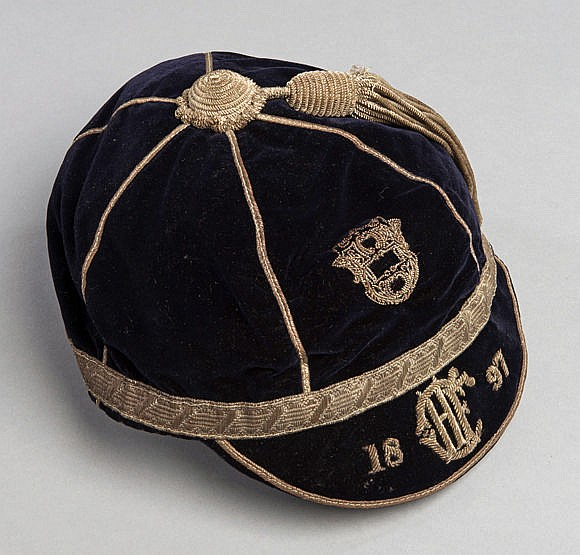 Hull Rugby Football Club cap 1897, with crest, initials and date Issu