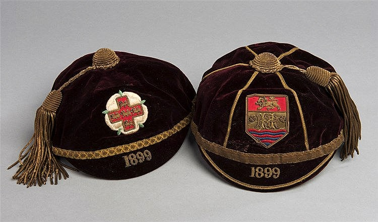 Two caps awarded to the Hull Kingston Rovers player H. Tullock in 1899