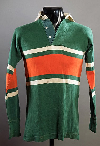 Eric Batten Hunslet No.2 rugby league shirt, green, orange & white lo