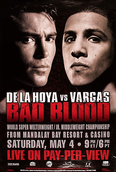 A signed fight Poster for De La Hoya v Vargas,  billed as