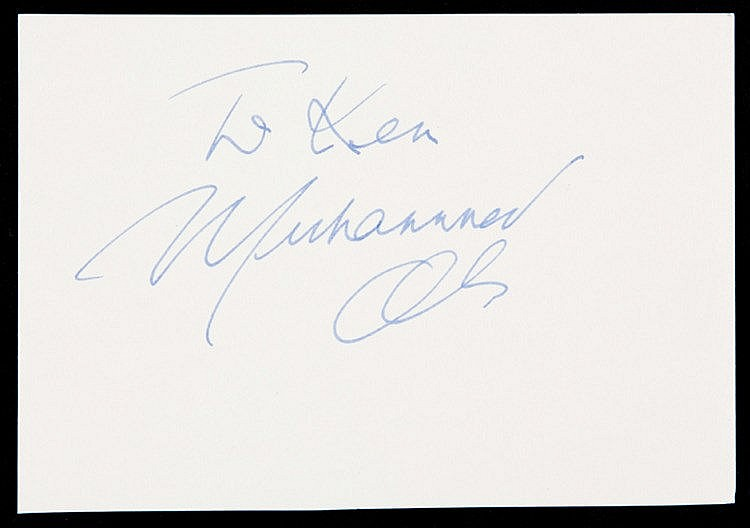 Muhammad Ali autographed card, signed in blue fountain pen and dedica