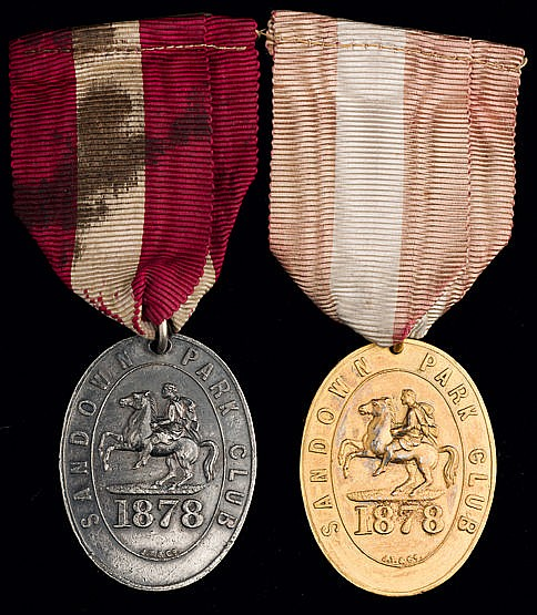 Two 1878 Sandown Park badges,  namely a gentleman's ôTen Guinea Passö,