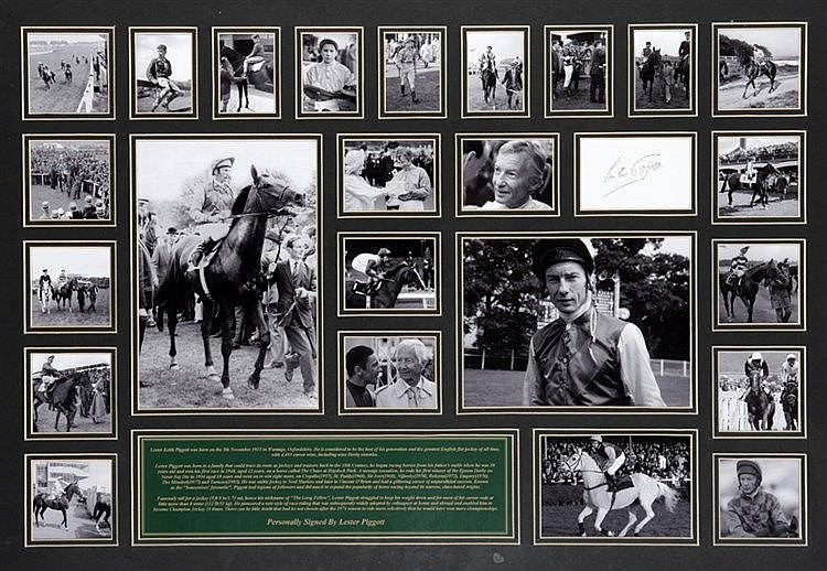 Signed Lester Piggott photo montage,  mounted with a signed white inde