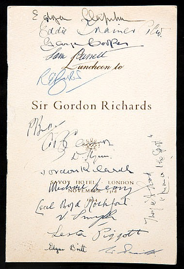 Autographed Sir Gordon Richards retirement dinner menu,  held at the S