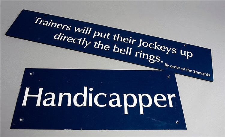 Ascot racecourse signage,  HANDICAPPER,  blue metal sign with white te