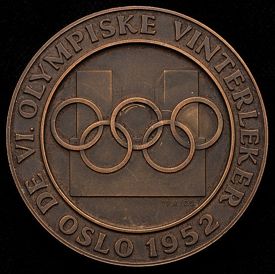 Oslo 1952 Winter Olympic Games participation medal,  copper, 56mm, by