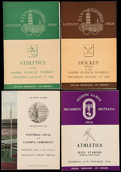 1948 and 1956 Olympic programmes, for 1948 a complete set of 8 athlet