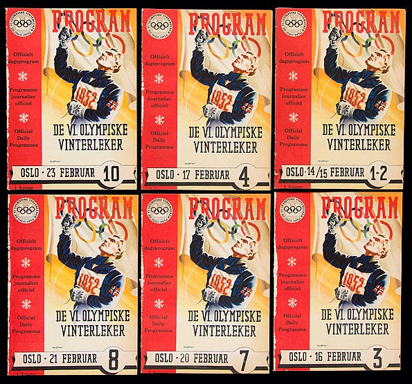 Six programmes issued for the Oslo 1952 Winter Olympic Games, compris