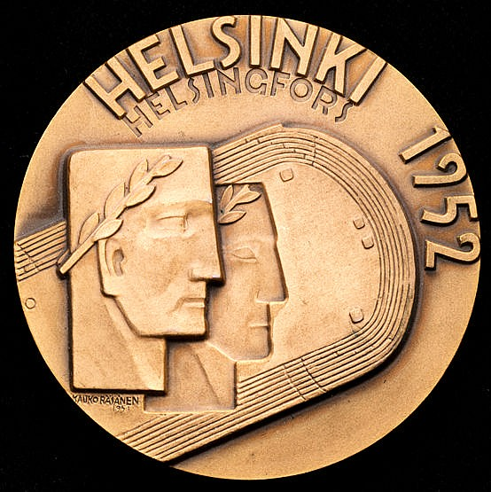 Helsinki 1952 Olympic Games participation medal,  designed by K Rasane