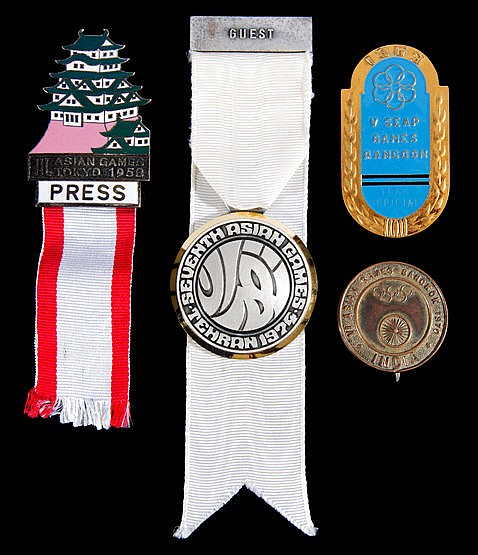 Four Asian Games badges,  i) a press badge for Tokyo 1950 ii) team off
