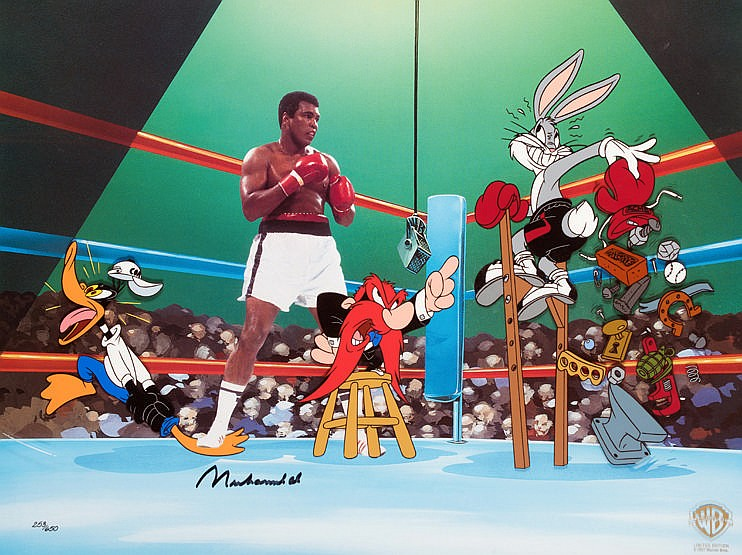 Muhammad Ali signed Warner Bros animation art cell titled