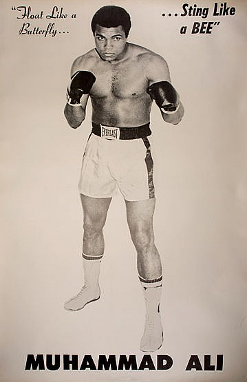 Large linen-backed Muhammad Ali poster, with b&w; photographic portrai