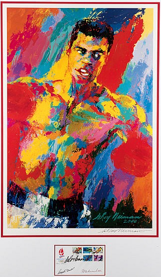 A signed presentation featuring a LeRoy Neiman poster of Muhammad Ali,