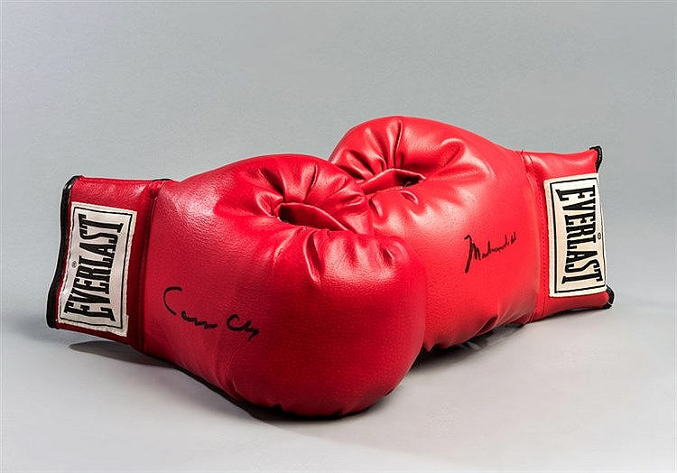 Muhammad Ali/Cassius Clay signed boxing gloves,  a pair of red Everlas