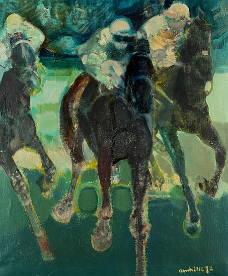 Paul Ambille (French, 1930-2010) HORSE RACE signed & dated '72, oil