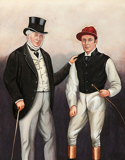 Richard Dighton (1795-1880) FRED ARCHER & LORD FALMOUTH watercolour,