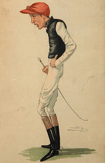 Seven Vanity Fair prints of jockeys, by Spy (one by Lib), unframed ex