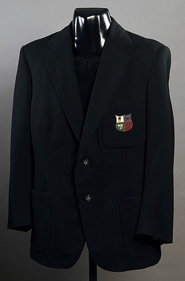 Phil Bennett British Lions rugby blazer,  navy blue wool, with silk