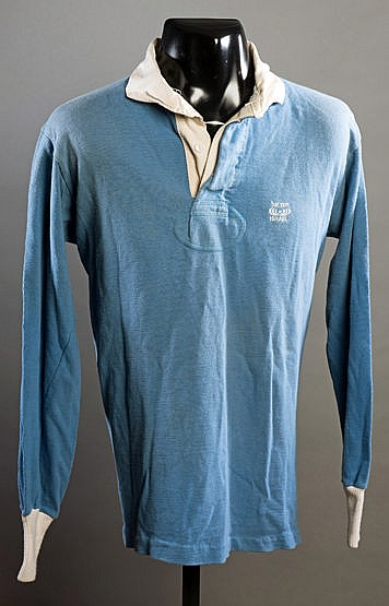 A blue Israel No.21 rugby union international shirt,  long-sleeved