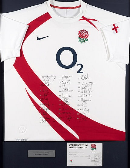 England team-signed 2007 Rugby World Cup shirt, from a limited editio