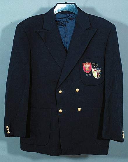 Phil Bennett's navy blue Wales blazer from the 1976 Grand Slam winning