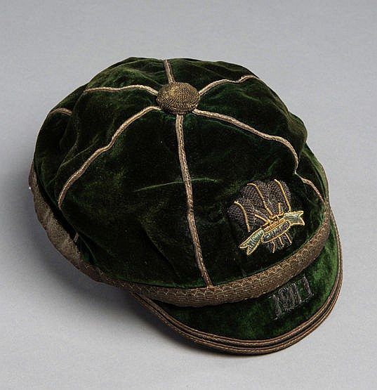 A Wales Rugby Union international cap 1911, the green cap with Prince