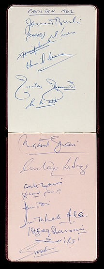 Autograph album containing Test Match cricket teams in the 1950s and 1