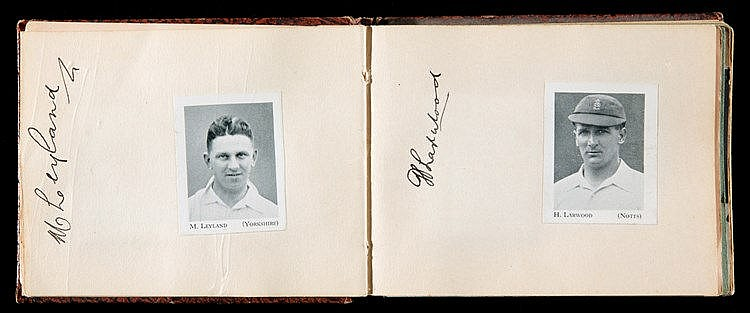 Cricket autograph album with the England 1932-33 Bodyline cricket team