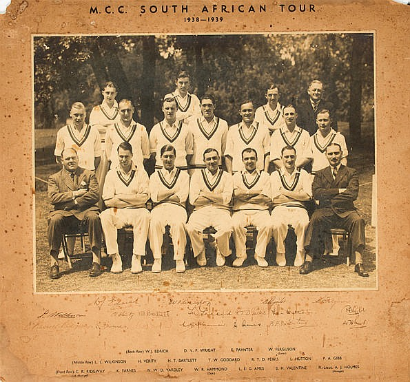 Signed official mounted photograph of the England cricket team to Sout