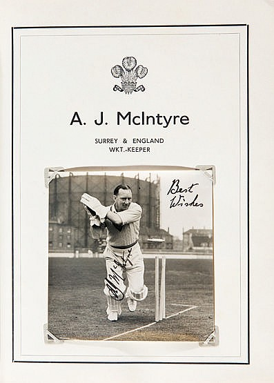 Autographed cricket album specially produced for A.J. McIntyre's Benef