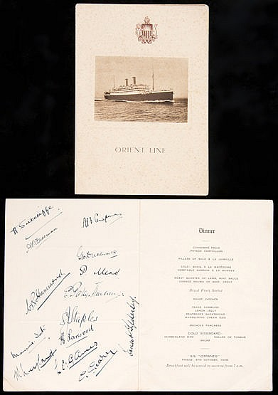 Two Orient Line menus, one signed by the England 1928-29 cricket team