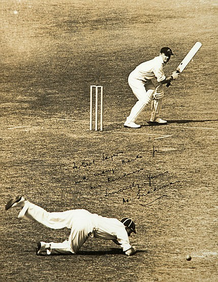 Don Bradman signed photograph circa 1930,  9 1/2 by 7 1//2in. b&w; matc